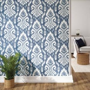 PSW1143RL Coastal Hawthorn Ikat Peel and Stick Wallpaper Blue Room Setting