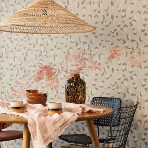 300541 Javan Leopard Wallpaper Taupe Room Setting