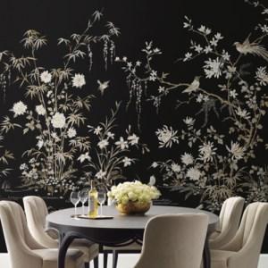 KT2264M York Wallcoverings Ronald Redding 24 Karat Flowering Vine Chinoiserie Mural Black Room Setting