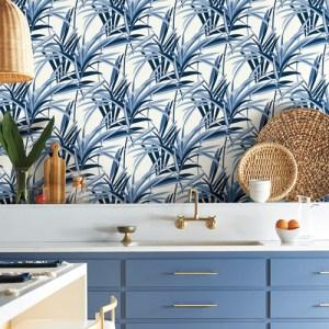 TC2602 York Wallcoverings Tropics Resource Library Tropical Paradise Wallpaper Blue Room Setting