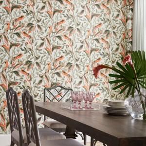 TC2652 York Wallcoverings Tropics Resource Library Tropical Love Birds Wallpaper Grey Room Setting
