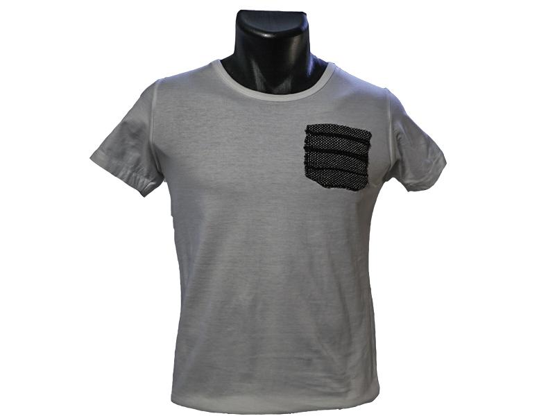 T shirt homme avec application tissée main