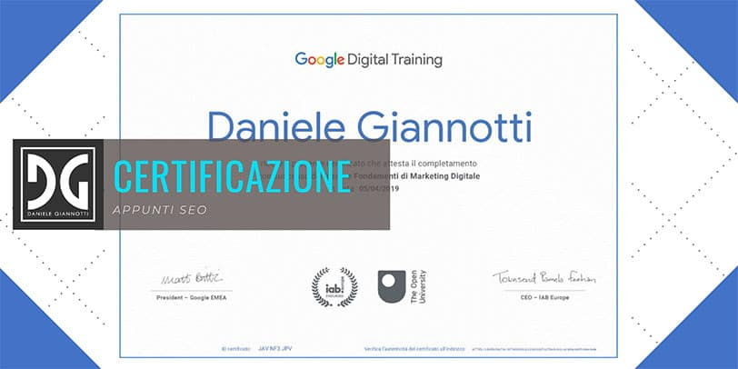 Certificato corso Digital Marketing