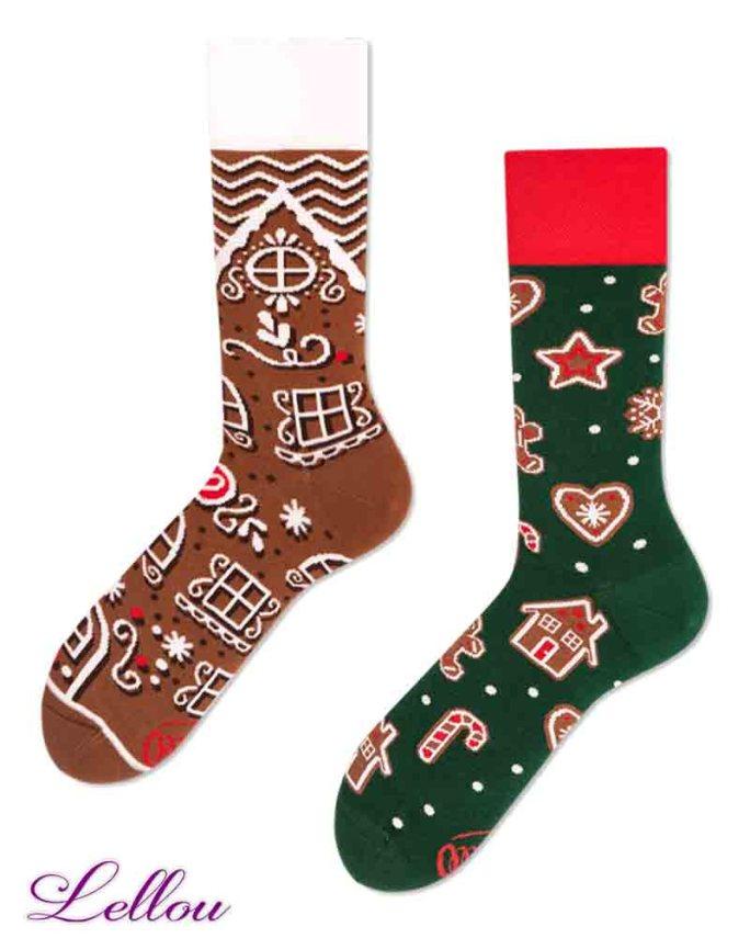 Chaussettes dépareillées pain d'épice Socks amusantes GINMAN regular amusantes drôles.Esprit de fêtes de fin d'année. Sucre d'orge, Speculoos