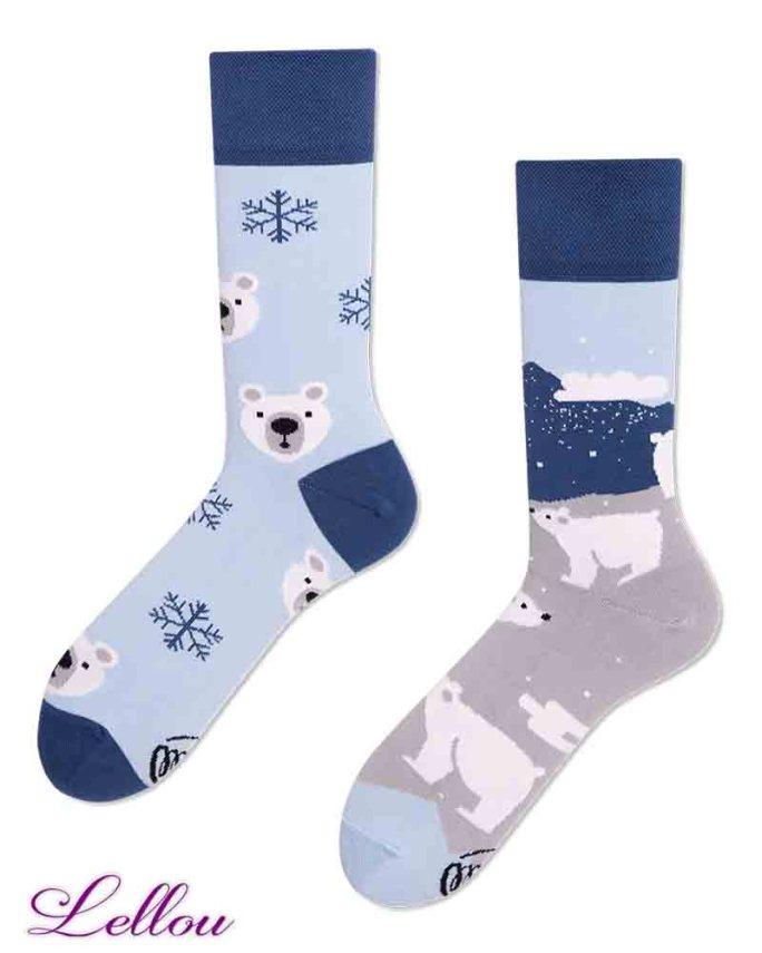 Chaussettes Ours Polaire Dépareillées POLBEA regular. Socks amusantes, drôles. La vie est trop courte pour des chaussettes ennuyeuses! Europe