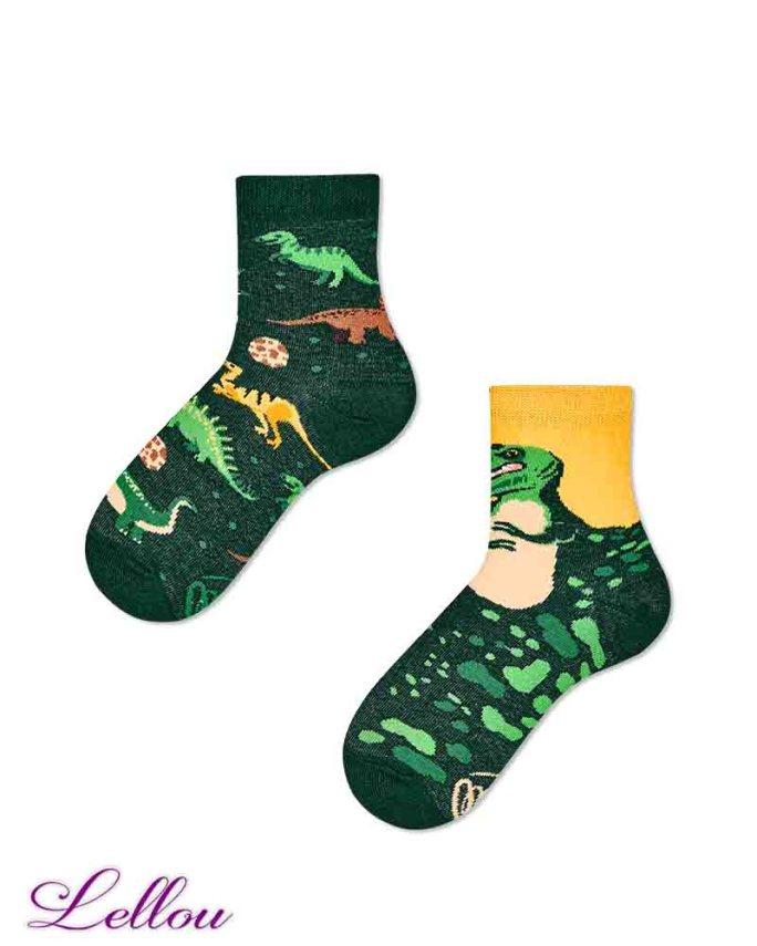Chaussettes dépareillées Enfant Dinosaure en coton amusantes et drôles. Petit clin d'œil pour être assorti aux chaussettes des adultes.