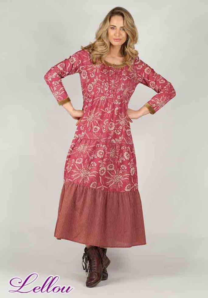 Robe Longue Rhum Raisin Grenat 101 Bohème Chic Romantique
