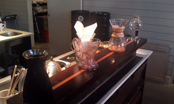 The different brewing methods offered: Syphon, Chemex, Clever, and Eva Solo.