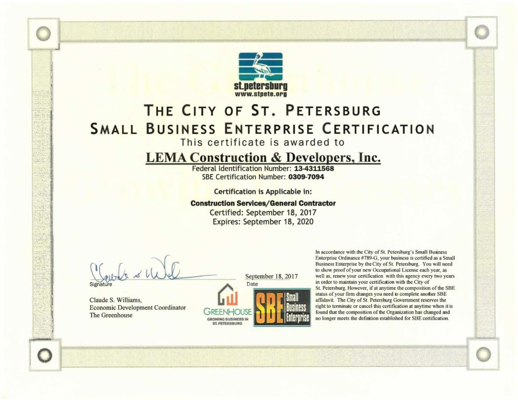 LEMA SBE Certificate