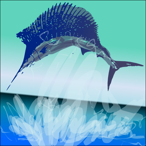 A wild jumping sailfish by John LeMasney via 365sketches.org #inkscape #cc #drawing #design