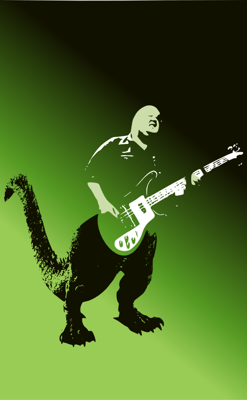 A monster guitarist: Samzilla by John LeMasney via 365sketches.org #Inkscape #rockandroll #poster