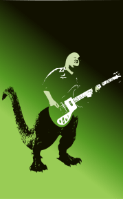 A monster guitarist: Samzilla by John LeMasney via 365sketches.org #Inkscape #rockandroll #poster