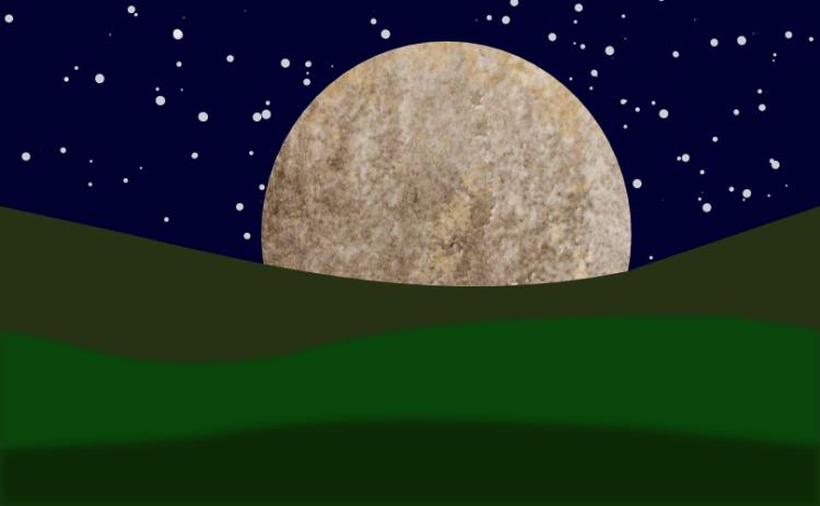 A moon rising by John LeMasney via 365sketches.org #Inkscape #lunar #landscape