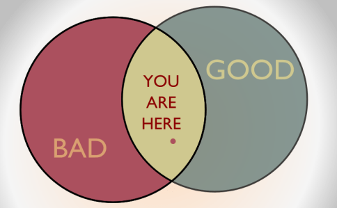 A moral compass: You're somewhere in the middle by John LeMasney via 365sketches.org #design #venn #diagram