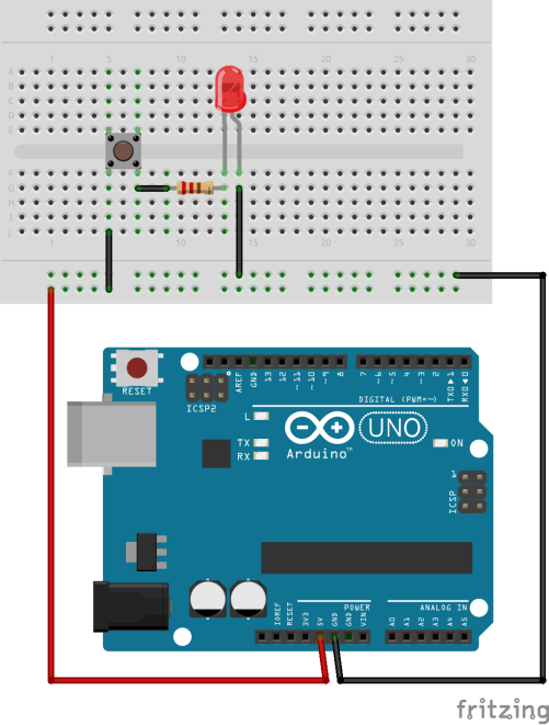 simple circuit with LED and momentary switch by lemasney