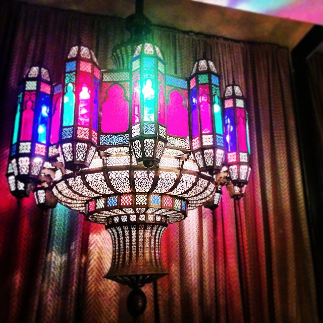 delicate stained glass chandelier, photo by lemasney