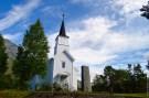 Little white Norwegian church in the Skjomen valley