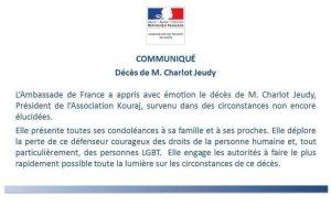 Haïti-Diplomatie : L'ambassade de France demande aux autorités de faire lumière sur la mort de Charlot Jeudy 1