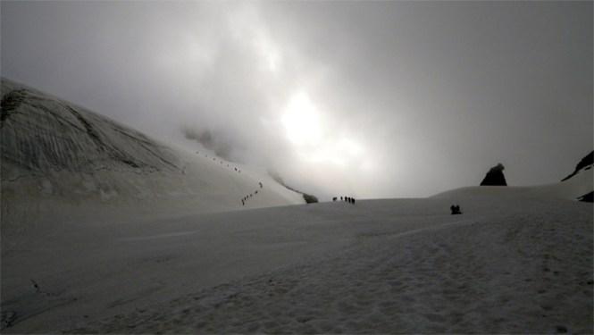 En chaussure Five FIngers sur le glacier du Grand Paradiso