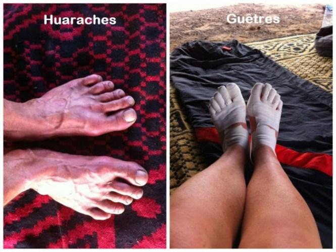 Huaraches vs guêtres