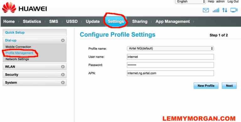 APN settings for HUAWEI universal USB modem