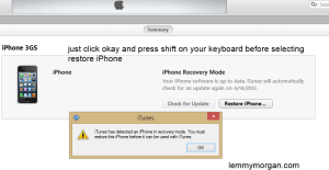 how to manually select a firmware on iTunes