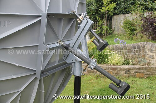 A big satellite dish with a heavy duty jack