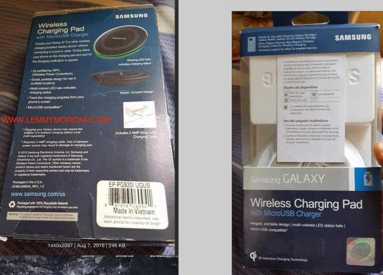 samsung wireless charger rear and front