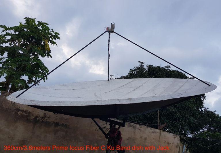 3.6 Meters Fiber prime focus C Band :ku band dish with Jack