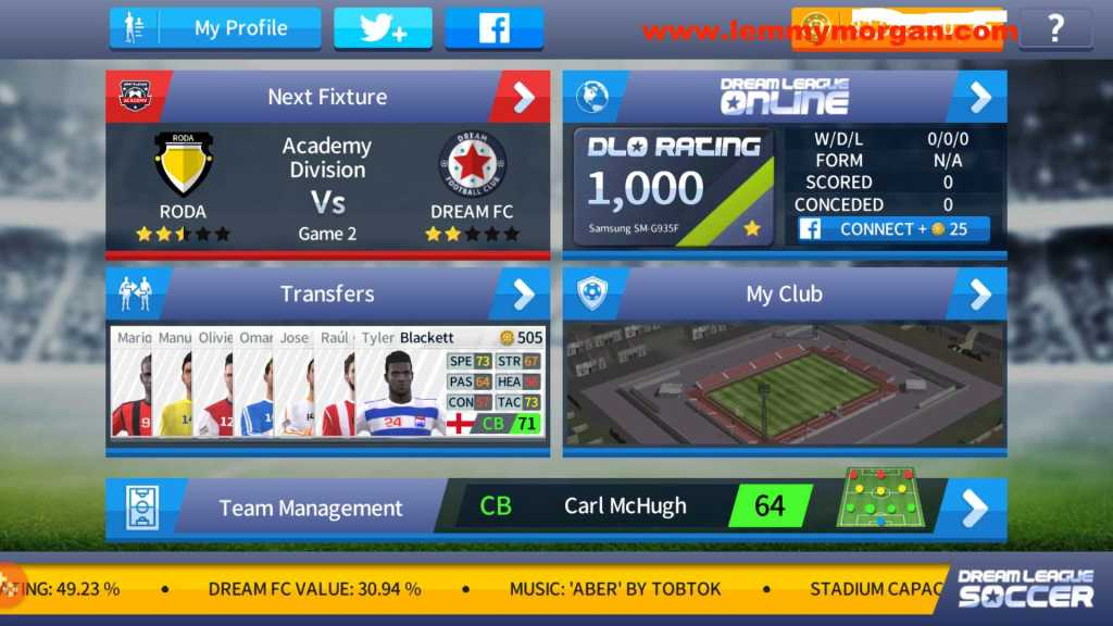 dream league soccer startup page