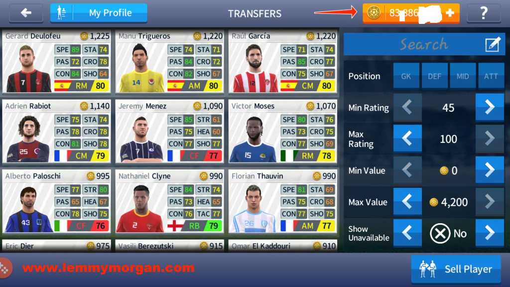 dream league soccer transfer interface