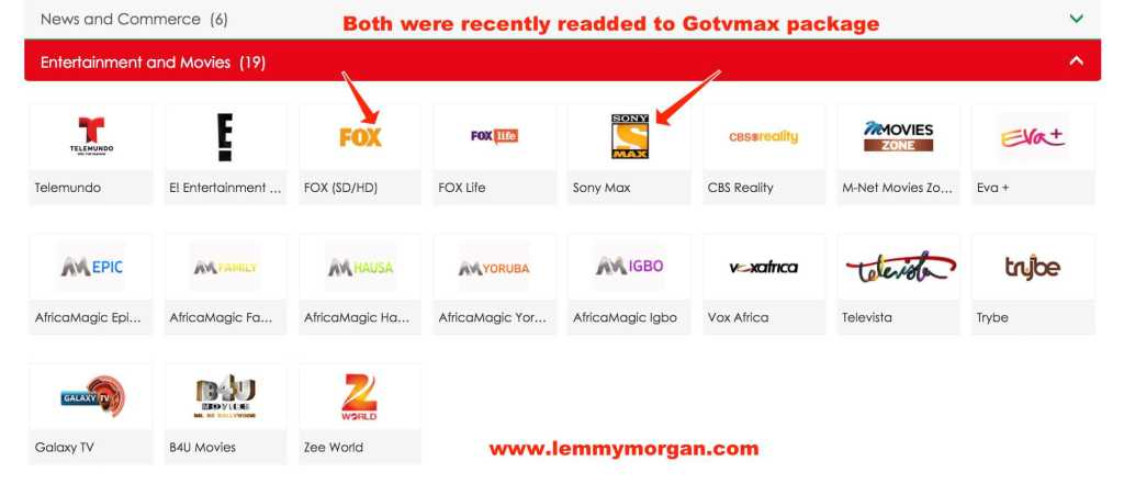 Full entertainment channels on GOtv Max