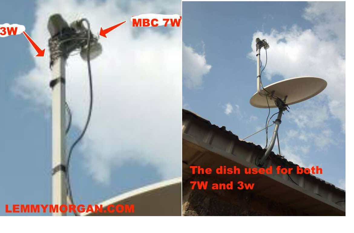 Tstv 3W + MBC 7W tracked on a 90cm dish with a two LNBs