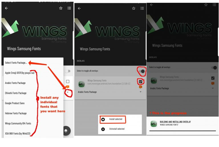 wings samsung fonts how to install the fonts