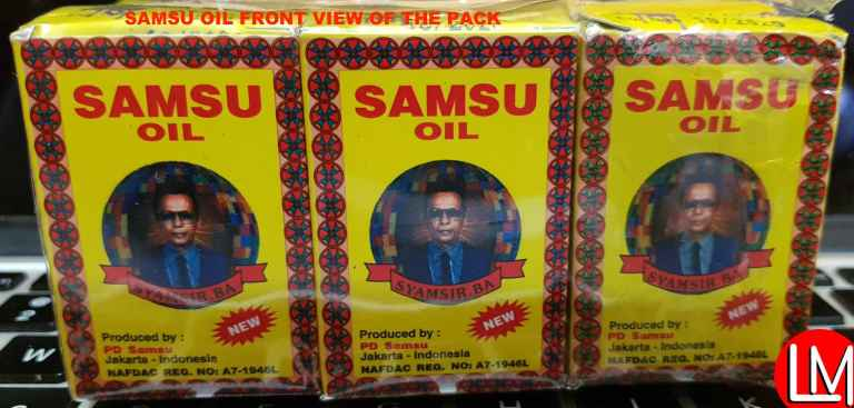 Front view of the a pack of Samsu Oil