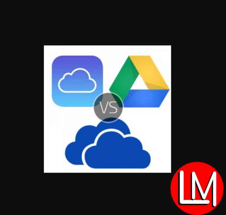 iCloud,Onedrive and GoogleDrive online data storage services