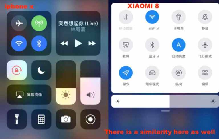 Similarity between notification bar of xiaomi 8 and iphone x