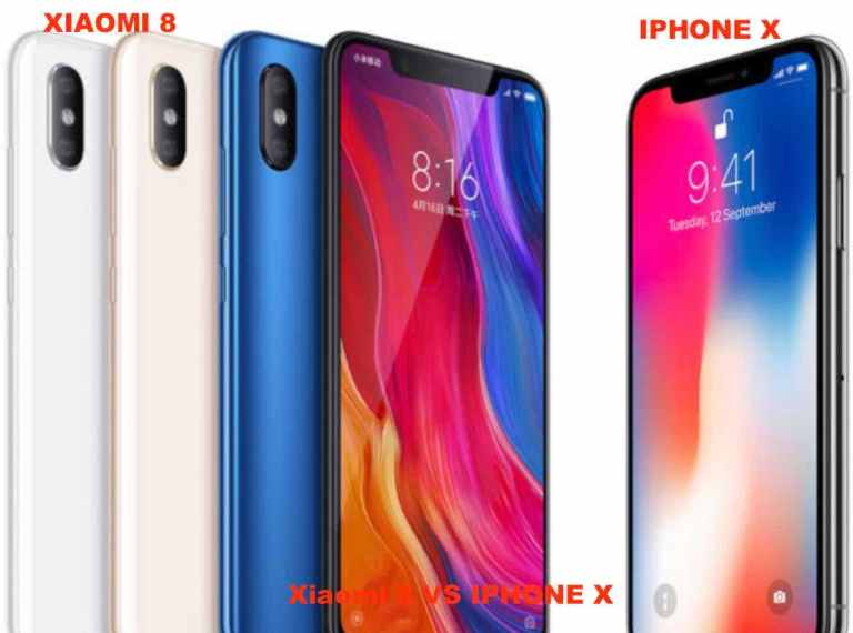 Xiaomi 8 vs iPhone X the front panel