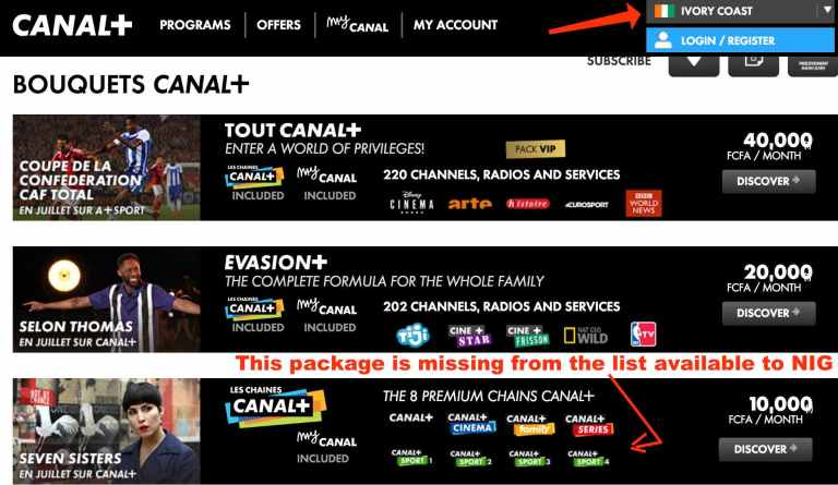 available canal+ packages for french speaking african countries