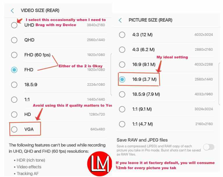 How to increase:reduce the picture and video size of Android in camera settings