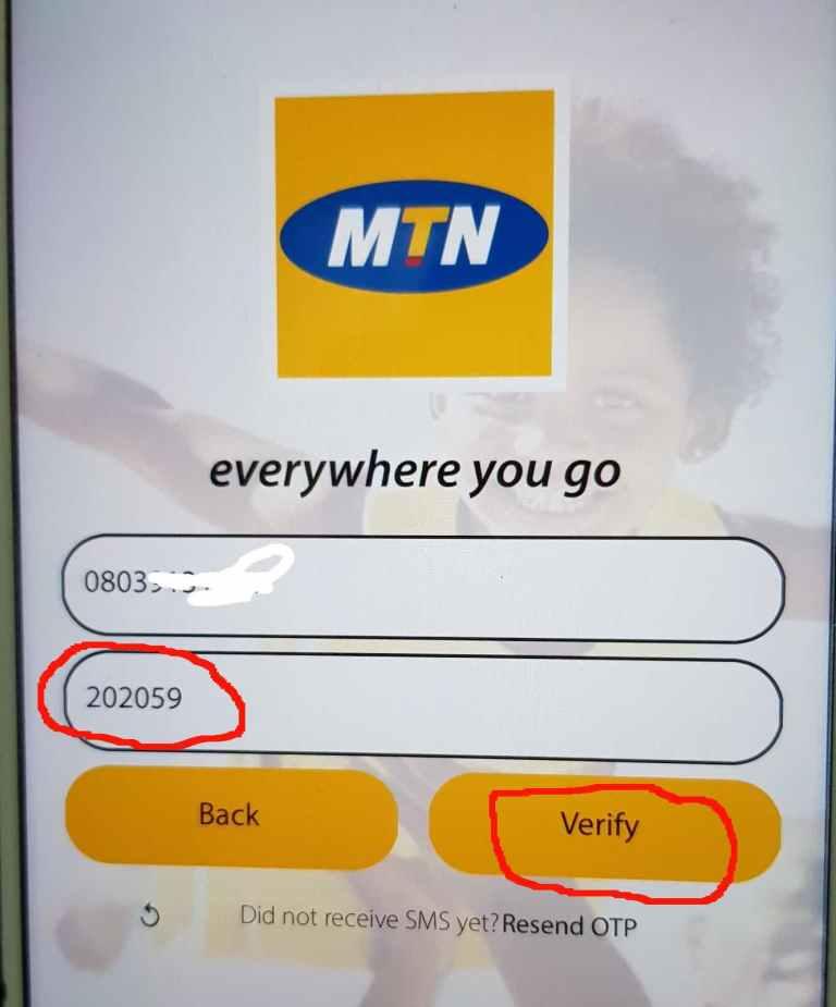 MyMTN App 500MB free data OTP activation