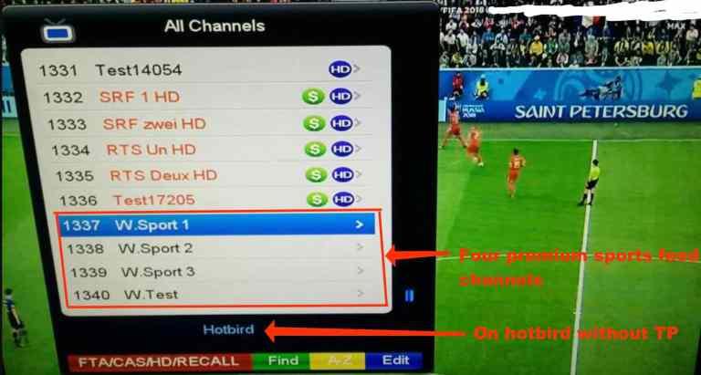 SatTube TV Sports Channels list