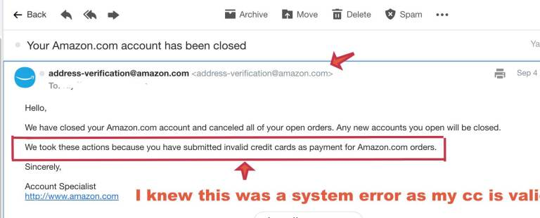 Amazon account suspension email notification