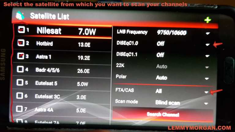 Select and scan for channels on DVBPlayer for Android