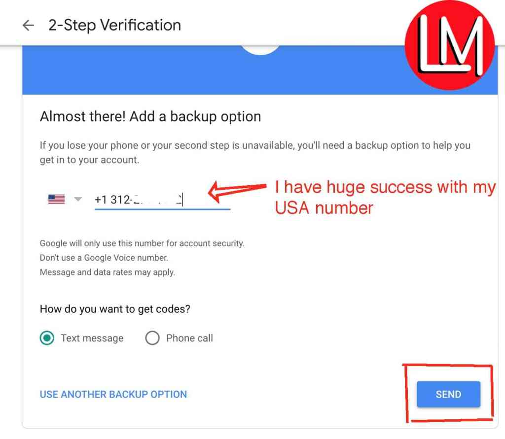 Using a US number to verify google 2-Step
