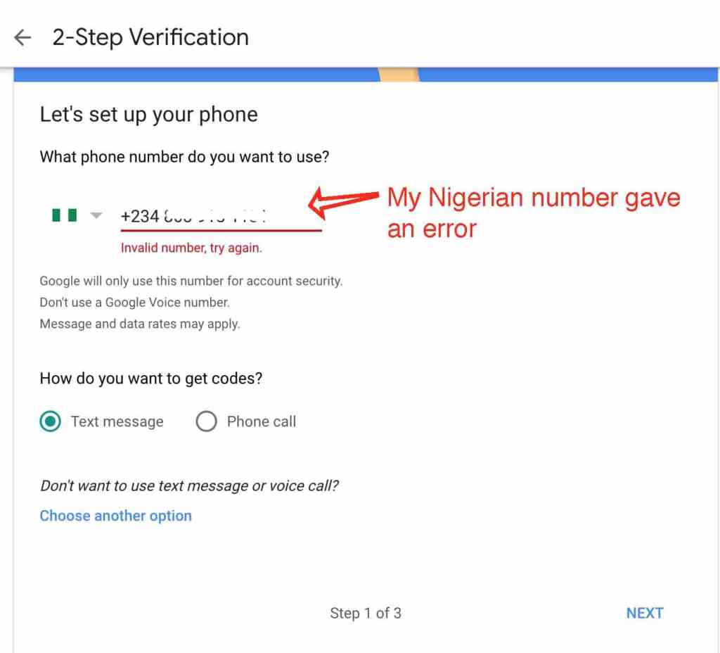 Nigerian phone number rejected by google 2-Step Verification