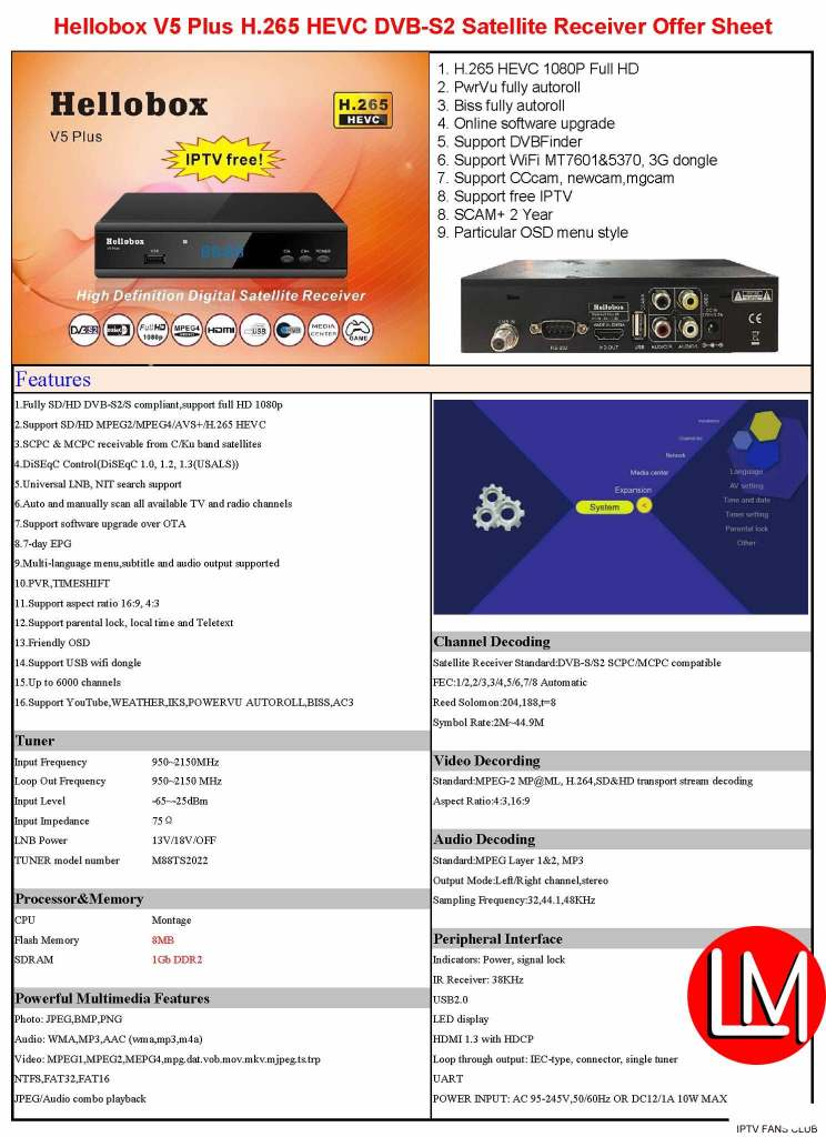 Hellobox v5 plus cas features and technical specification