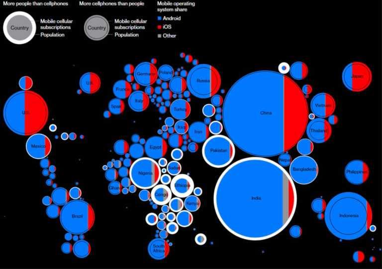 smartphones subscriptions world map