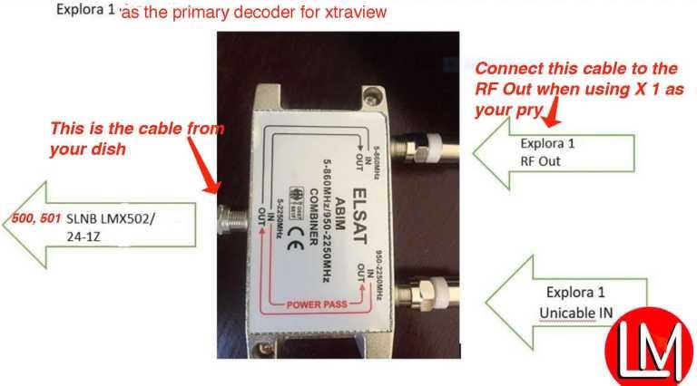 Diplexer to explora 1 connection