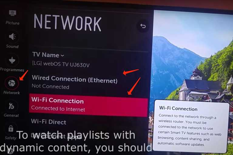 LG smart tv to the internet connection